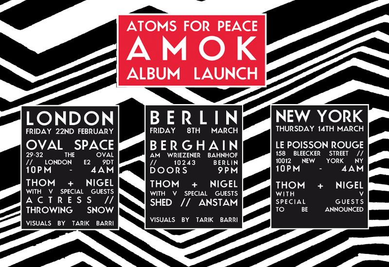 Atoms for Peace Announce Album Launch Events in London, Berlin, New York