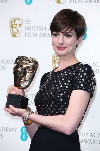 Mandatory Credit: Photo by Matt Baron / BEImages (1235235y)Anne HathawayEE British Academy Film Awards, Press Room, Royal Opera House, London, Britain - 10 Feb 2013 at Anne Hathaway & More Win at 2013 BAFTA Awards