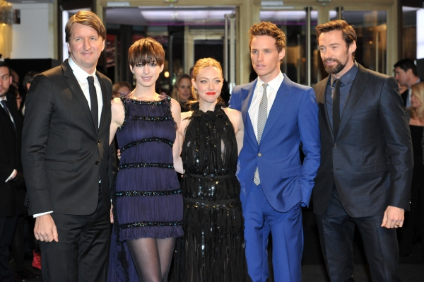 Mandatory Credit: Photo by Camilla Morandi/Rex / Rex USA (1235203q)Tom Hooper, Anne Hathaway, Amanda Seyfried, Eddie Redmayne and Hugh Jackman'Les Miserables' film premiere, 63rd Berlinale International Film Festival, Berlin, Germany - 09 Feb 2013 at Hathaway, Jackman & More Shine at LES MISERABLES Berlin Film Premiere