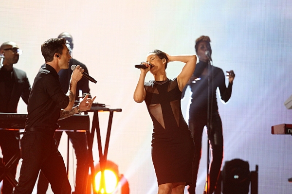 Maroon 5 & Alicia Keys perform at THE 55TH ANNUAL GRAMMY AWARDSÃ�¿�Â�¿�Ã�¿�Â�®.  The music industry's premier event will take place Sunday, Feb. 10 (8:00-11:30 PM, live ET/delayed PT), at STAPLES Center in Los Angeles, on the CBS Television Network.  at Timberlake, Rihanna & More at 55th ANNUAL GRAMMY AWARDS