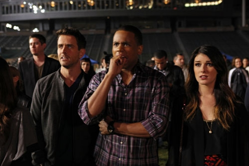 "90210 -- ""#realness"" -- Image: NO513a_0339 -- Pictured (L-R): Joey McIntyre as Rand, Tristan Wilds as Dixon, and Shenae Grimes as Annie -- Photo: Scott Humbert/The CW -- © 2013 The CW Network. All Rights Reserved"