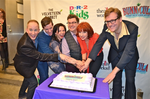 Cast Cutting the Cake Celebration Prescott Seymour, John Garry Ashley Campana, Robert Anthony Jones, Erin Maguire, Abe Goldfarg