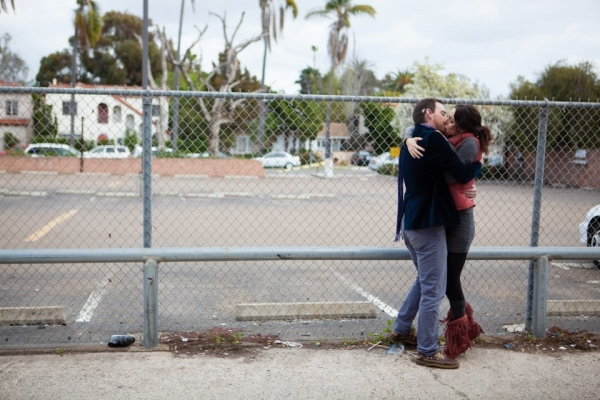 A goodbye kiss, for Chris (Michael Nieto) and Alex (Laura Kaplan-Nieto)