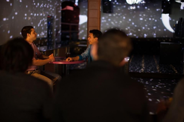 Evan Kendig and Shaun Tuazon as Pat and Chris meet for a blind date at the oldest gay bar in Hillcrest.