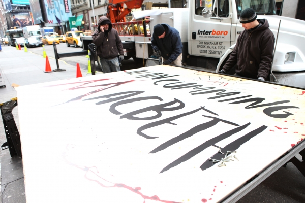 Photo Coverage:  Alan Cumming Helps Install MACBETH Marquee