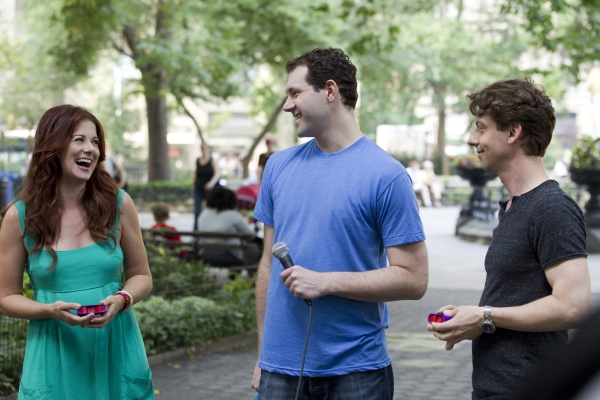 June 29, 2012: Billy on the Street with Debra Messing in Madison Square Park.