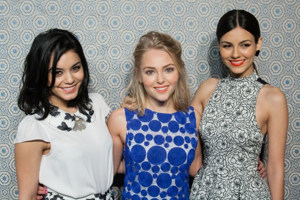 Vanessa Hudgens, AnnaSophia Robb and Victoria Justice at the Alice and Olivia By Stacey Bendet show Mercedes-Benz Fashion Week (Photo by MediaPunch Inc / Rex USA)