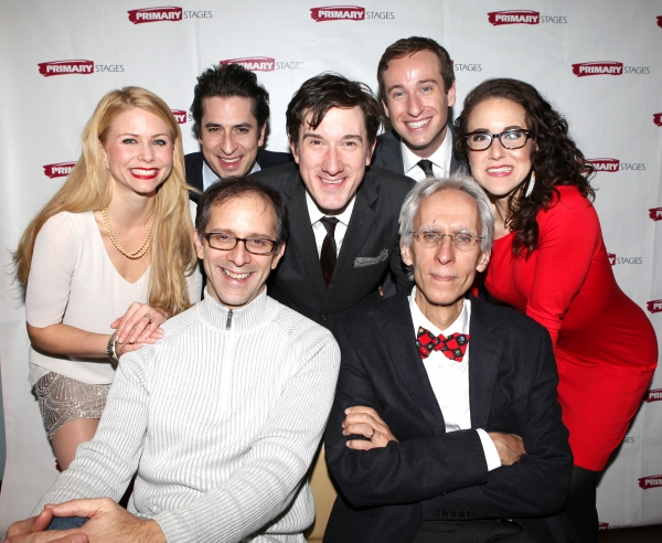 (Top row L-R) Liv Rooth, Matthew Saldivar, Carson Elrod, Eric Clem and Jenn Harris (bottom row L-R) John Rando and David Ives  at Inside ALL IN THE TIMING's Opening Night!
