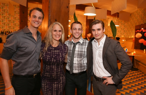 From left, cast members Maxwell Hamilton, Wendy vanden Heuvel, Brett Donaldson and Seth Numrich during a reception for New York's Rattlestick Playwrights Theater to celebrate its upcoming Los Angeles production of Daniel Talbott's