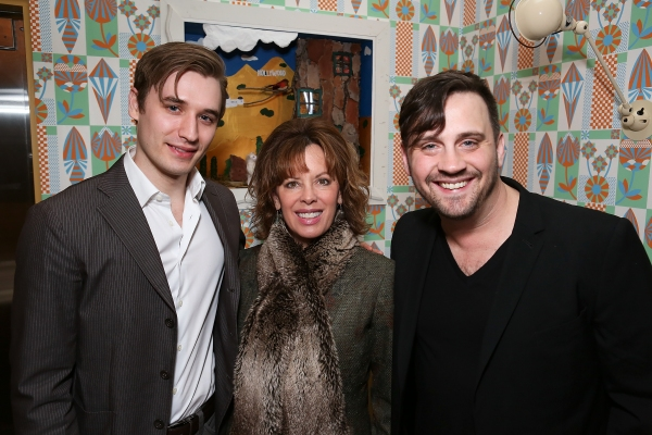 """From left, cast member Seth Numrich, Jeanie Hackett, Creative Consultant and Playwright Daniel Talbott pose during a reception for New York's Rattlestick Playwrights Theater to celebrate its upcoming Los Angeles production of Daniel Talbott's """"Slipping"""""""