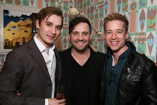 "From left, cast member Seth Numrich, Playwright Daniel Talbott and actor Daniel Abeles pose during a reception for New York's Rattlestick Playwrights Theater to celebrate its upcoming Los Angeles production of Daniel Talbott's ""Slipping"" held at the Bea"