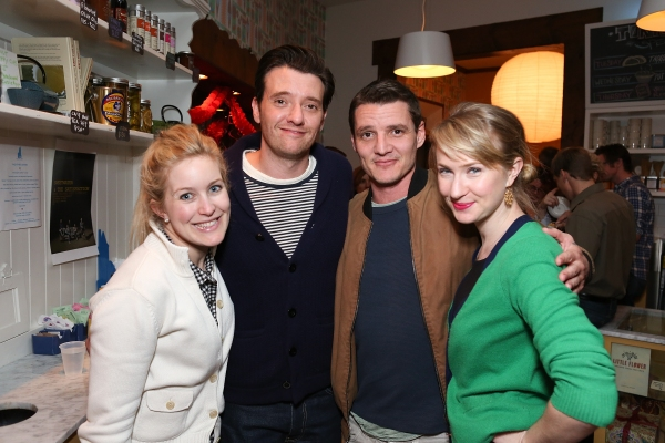 "From left, Jasmine Chazelle, actor Jason Butler Harner, actor Pedro Pascal and actress Halley Feiffer pose during a reception for New York's Rattlestick Playwrights Theater to celebrate its upcoming Los Angeles production of Daniel Talbott's ""Slipping"""