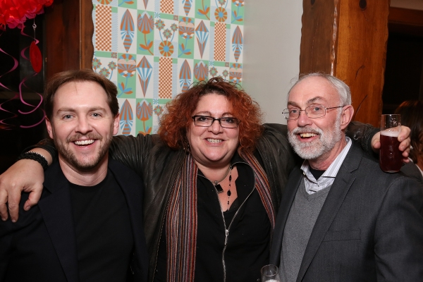 From left, Matt Shakman, Artistic Director of Black Dahlia; Jessica Kubzansky, Artistic Producer of Boston Court and David Van Asselt, Rattlestick Artistic Director pose during a reception for New York's Rattlestick Playwrights Theater to celebrate its u