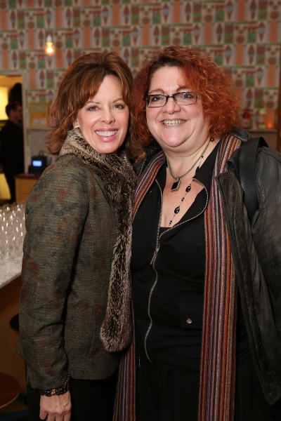"From left, Jeanie Hackett, Creative Consultant and Jessica Kubzansky, Artistic Producer of Boston Court pose during a reception for New York's Rattlestick Playwrights Theater to celebrate its upcoming Los Angeles production of Daniel Talbott's ""Slipping"
