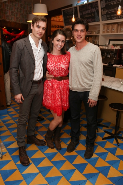 From left, cast member Seth Numrich, Dylan Moore and Finn Wittrock pose during a reception for New York's Rattlestick Playwrights Theater to celebrate its upcoming Los Angeles production of Daniel Talbott's