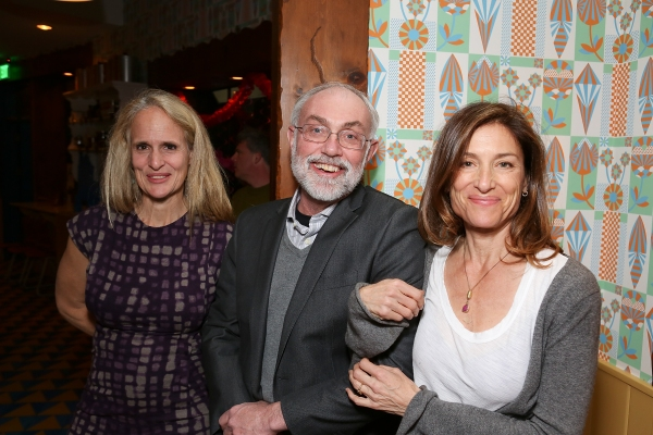 From left, cast member/producer Wendy vanden Heuvel , David Van Asselt, Rattlestick Artistic Director and Barbara Williams pose during a reception for New York's Rattlestick Playwrights Theater to celebrate its upcoming Los Angeles production of Daniel Talbott's