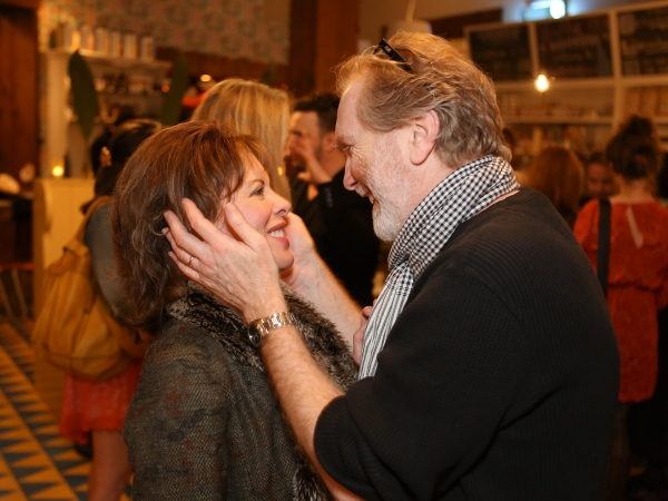 """From left, Jeanie Hackett, Creative Consultant and actor Harry Groener celebrate during a reception for New York's Rattlestick Playwrights Theater to celebrate its upcoming Los Angeles production of Daniel Talbott's """"Slipping"""" held at the Beachwood Cafe"""
