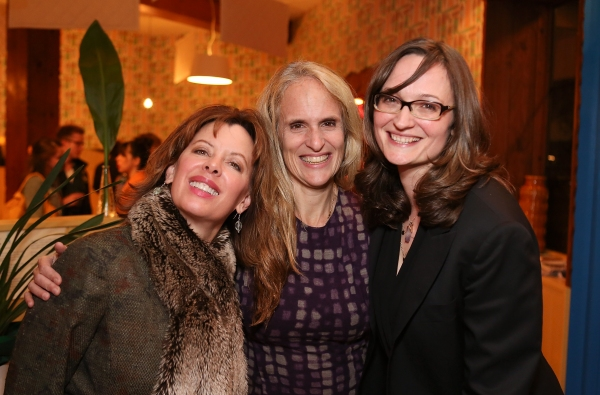 """From left, Jeanie Hackett, Creative Consultant and cast members Wendy vanden Heuvel and Addie Talbott pose during a reception for New York's Rattlestick Playwrights Theater to celebrate its upcoming Los Angeles production of Daniel Talbott's """"Slipping"""""""