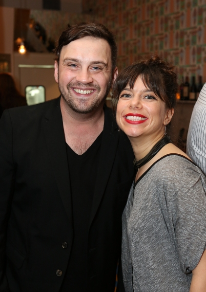 From left, Playwright Daniel Talbott and playwright Sheila Callaghan pose during a reception for New York's Rattlestick Playwrights Theater to celebrate its upcoming Los Angeles production of Daniel Talbott's