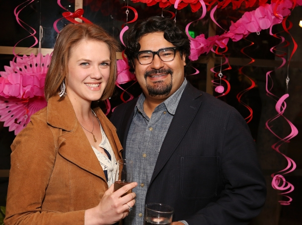 "From right, Mando Alvarado, Rattlestick Playwright and guest pose during a reception for New York's Rattlestick Playwrights Theater to celebrate its upcoming Los Angeles production of Daniel Talbott's ""Slipping"" held at the Beachwood Cafe on Tuesday, Fe"