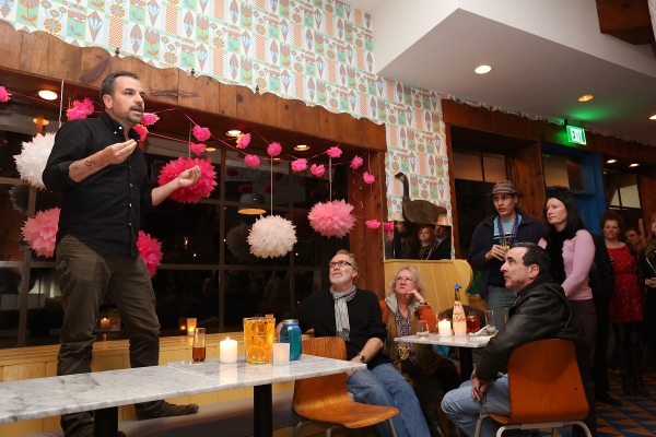 Playwright Craig Wright speaks during a reception for New York's Rattlestick Playwrig Photo