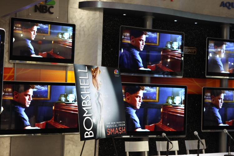 High Res Television Atmosphere featuring Jeremy Jordan at the CD signing & Celebration for the release of the SMASH 'Bombshell' Soundtrack at the NBC Experience Store in New York City on 2/13/2013