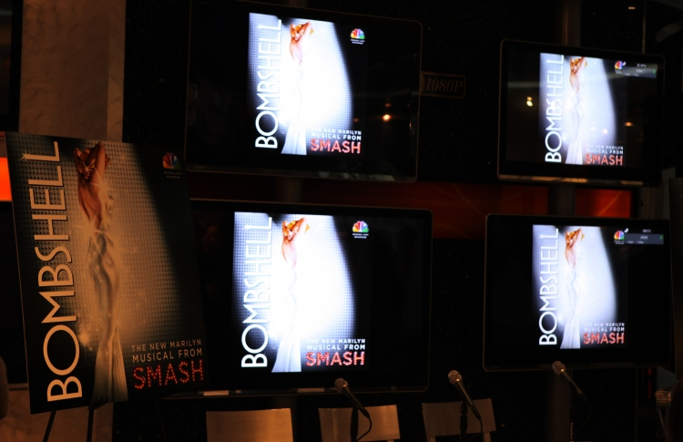 High Res Television Atmosphere at the CD signing & Celebration for the release of the SMASH 'Bombshell' Soundtrack at the NBC Experience Store in New York City on 2/13/2013
