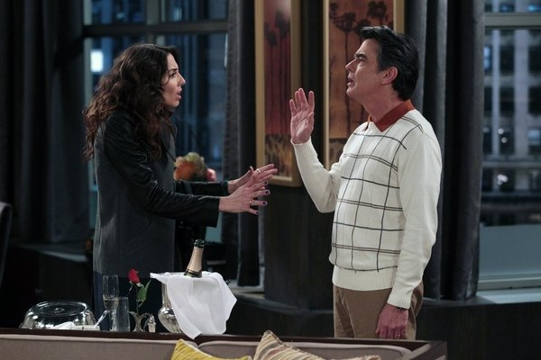 "WHITNEY -- ""Breaking Dad"" Episode 209 -- Pictured: (l-r) Whitney Cummings as Whitney, Peter Gallagher as Vince -- (Photo by: Chris Haston/NBC)"