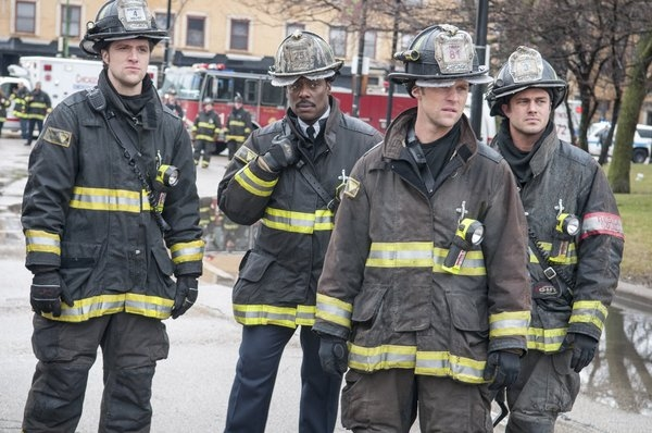 Pictured: (l-r) Shane McRae as Eric Whaley, Eamonn Walker as Battalion Chief Wallace Boden, Taylor Kinney as Kelly Severide, Jesse Spencer as Matthew Casey