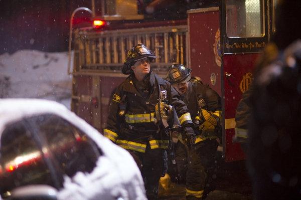 "CHICAGO FIRE -- ""Better To Lie"" Episode 117 -- Pictured: (l-r) David Eigenberg as Christopher Herrmann, Yuri Sardarov as Otis -- (Photo by: Elizabeth Morris/NBC)"