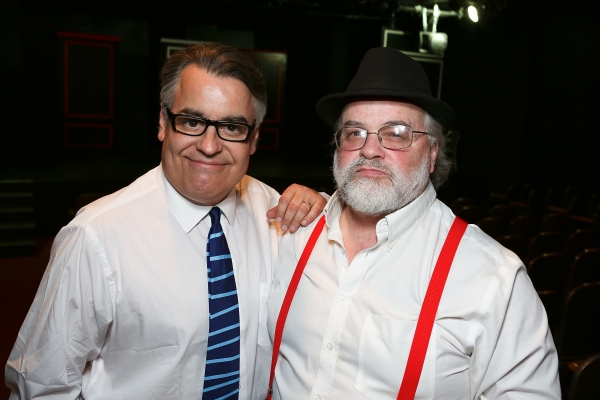 "From left, Director Pat Towne and Musical Director/Song Writer Richard Levinson pose during the world premier of ""Sketches From The National Lampoon"" at the Hayworth Theatre on Friday, February 15, 2013 in Los Angeles, Calif. (Photo by Ryan Miller/Capture"