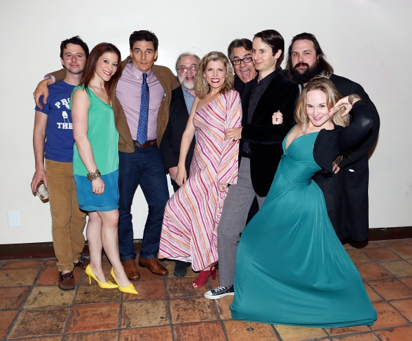 "From left, the full cast John Milhiser, Darrin Revitz, Henry Dittman, Richard Levinson, Erin Matthews, Pat Towne, Jesse Merlin, David Haverty and Cj Merriman pose during the world premier of ""Sketches From The National Lampoon"" at the Hayworth Theatre on"