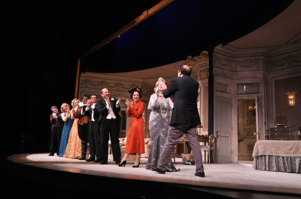 Ken Ludwig greeting the cast-Mark Price, Donna English, Jill Paice, John Treacy Egan, David Josefsberg, Michal Kostroff, Judith Blazer and Nancy Johnston