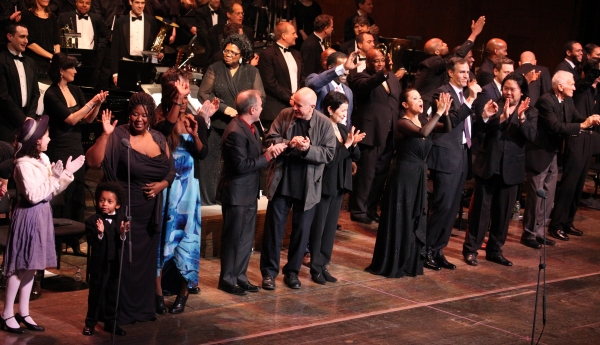 Stephen Flaherty, Terrence McNally, Lynn Ahrens & Stafford Arima with Company at RAGTIME Concert's Star-Studded Curtain Call!