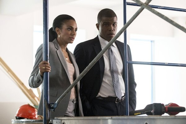 WHITE COLLAR -- 'Into the Wind' Episode 416 -- Pictured: (l-r) Marsha Thomason as Diana Berrigan, Sharif Atkins as Clinton Jones -- (Photo by: David Giesbrecht/USA Network)
