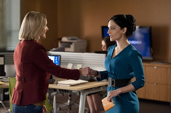 """Runnin' with the Devil""--Kalinda (Archie Panjabi, right) reluctantly agrees to train Robyn (Jess Weixler, left) when Will and Diane decide to hire a second investigator at the firm, on THE GOOD WIFE, Sunday March 10 (9:00-10:00 PM, ET/PT) on the CBS Tel"