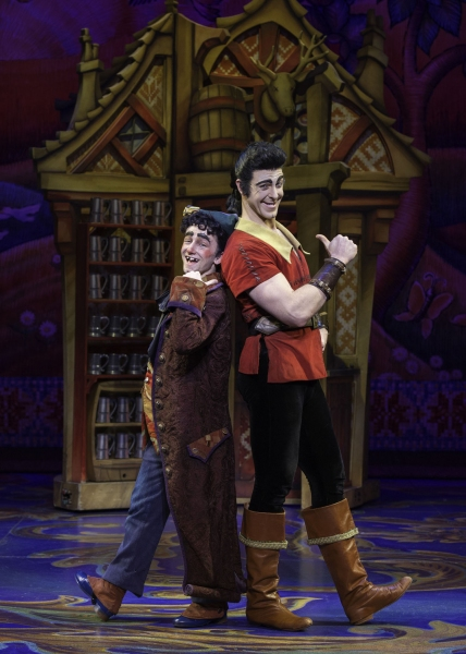 Jimmy Larkin as Lefou and Joe Hager as Gaston