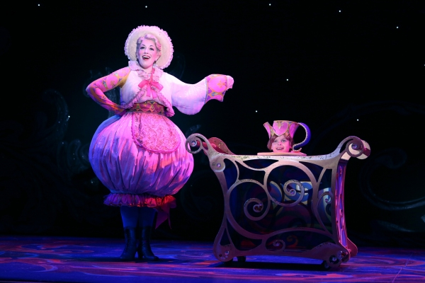 Erin Edelle as Mrs. Potts and Gabriel Reis as Chip