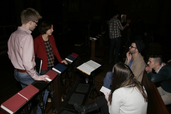 "Josh Kelley (Assistant Director), Jessica Grove (""Tamar""), Joe Barros (Director/Choreographer), Michael Megliola (Lighting Designer), and Mackenzie Meeks (Stage Manager) discuss design logistics. Photo credit: Elizabeth Ostler."