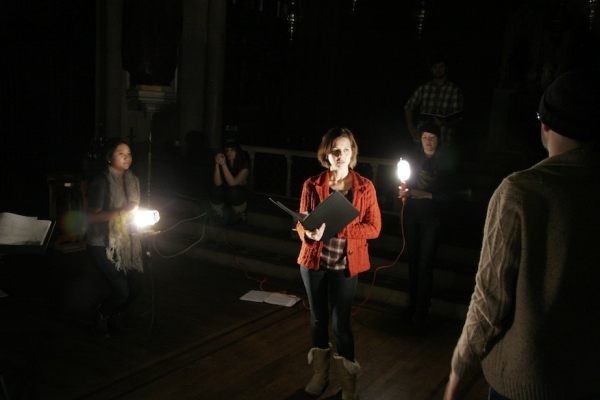 Mi Na Shin, Jessica Grove, Kelly Baxter Golding, Joe Barros explore a light look at St. Paul's Church in Carroll Gardens. Photo credit: Michael Bonasio.