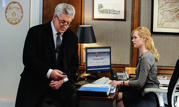 """Protest Too Much""--    DCPI Garrett Moore (Gregory Jbara) and Det. Abigail Baker (Abigail Hawk) wait patiently outside the commissionerÃ�¿�¢Ã�¿�Â�¿�Ã�¿�Â�¿�s office while Frank meets with a woman from the ACLU, on BLUE BLOODS, Friday, March 8 (10"