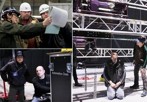 High Res (写真左上)STS社�スタッフ��場�確�を行�装置・日下部�(写真左下)オートメーション装置�レク�ャーを��る舞�・�井�(写真�)フライング装置�仕組�を学�舞�・濱上
