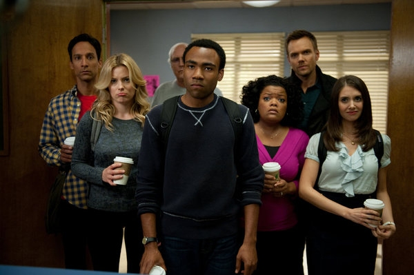 Danny Pudi as Abed, Gillian Jacobs as Britta, Chevy Chase as Pierce, Donald Glover as Photo