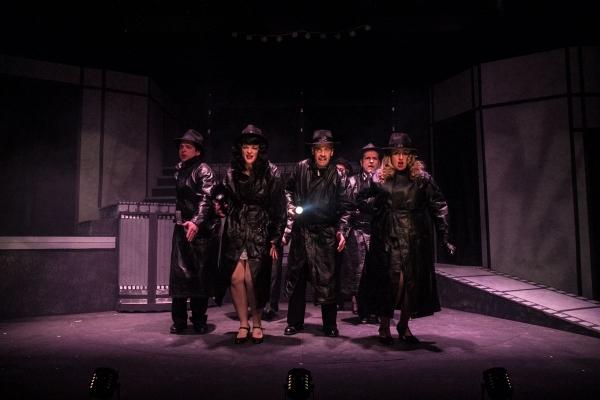 Kevin Sosbe as the Trenchcoat Man, Vicki Sosbe, Tom Denihan, Jonathan Ross, and Shannon-Courtney Denihan