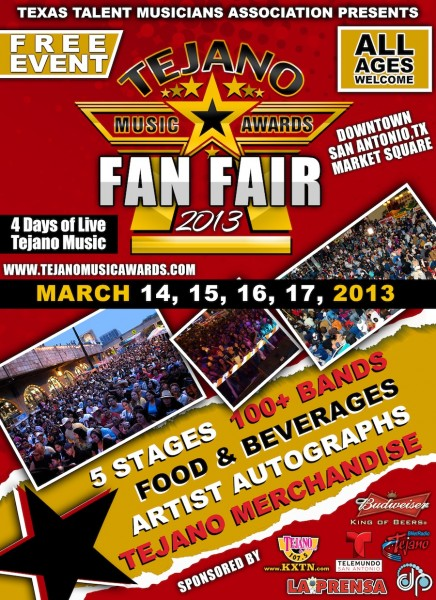 TTMA to Present Tejano Music Awards Fan Fair 2013, Begin. 3/14