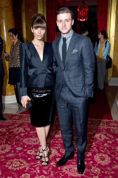 Jessica Biel and Justin Timberlake at the Tom Ford A/W 2013 Show at London Fashion Week