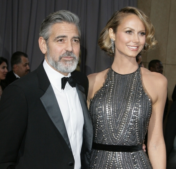 George Clooney and Stacey Keibler (Wearing Naeem Khan)