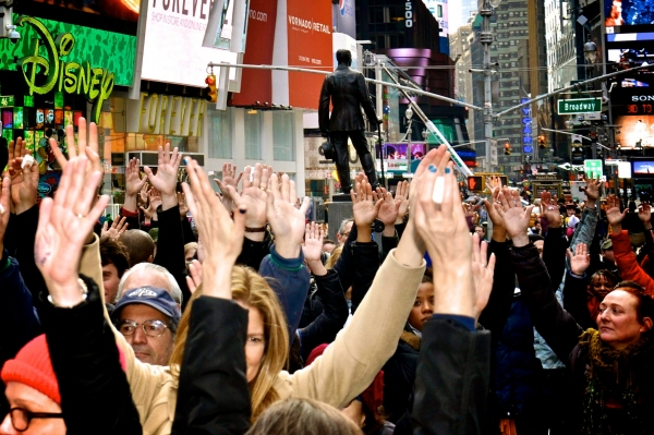 Photo Flash: ART = AMMO: Artists in Support of Gun Control Holds Flash Mob in Times Square