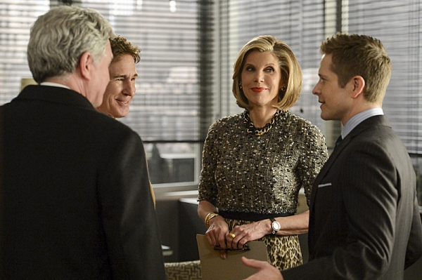 """Invitation to an Inquest"" �'¢Â?Â?  Cary (Matt Czuchry, right) and Diane (Christine Baranski) are surprised when Cary�'¢Â?Â?s father, Jeffrey (John Shea, left) shows up in Chicago ostensibly to bring new business to the firm, on"