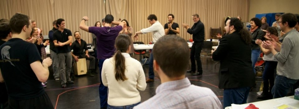 The cast begin the first rehearsal with Flamenco Consultant Saulo Garrido.